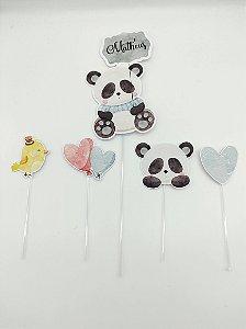 Topo de bolo personalizado Panda Azul