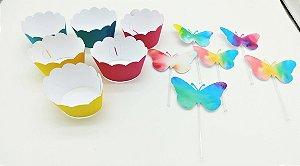 Kit para cupcake Tie Dye com 06 unidades