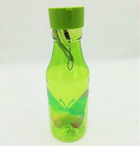 Garrafa plástica com canudo Tie Dye Verde
