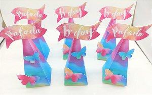 Caixa Pirâmide Personalizado Tie Dye com 06 unidades