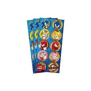Adesivo decorativo redondo Sonic com 03 cartelas