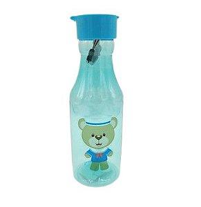 Garrafa plástica Azul com canudo Ursinho Marinheiro