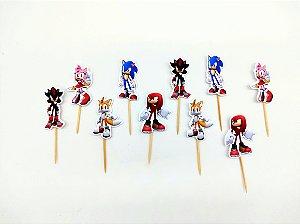 Pick decorativo Sonic com 12 unidades