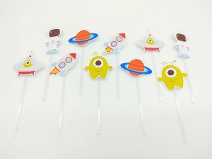 Pick decorativo Astronauta com 12 unidades