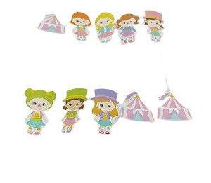 Pick decorativo Circo Rosa com 10 unidades