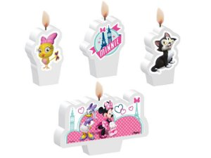 Kit de Velas Minnie Rosa com 4 unidades