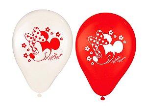Balões Látex Minnie Clássica Vermelha com 25 unidades