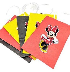 Sacola de papel Minnie Clássica Vermelha com 06 unidades