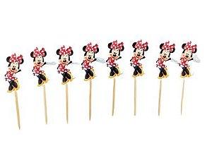 Pick decorativo Minnie Clássica Vermelha com 12 unidades