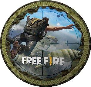 Prato redondo Free Fire com 08 unidades