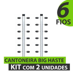 CANTONEIRA BIG HASTE COM 6 FIOS PARA CERCA ELÉTRICA - KIT COM 2