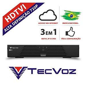DVR 16 CANAIS STAND ALONE TECVOZ HIBRIDO HDTVI - T1-LTVI16