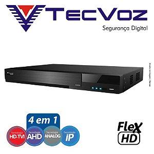 DVR 4 CANAIS STAND ALONE TECVOZ FLEX 5 EM 1 HD-TVI / AHD / HD-CVI / CVBS / IP