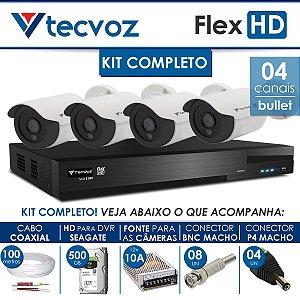 KIT TECVOZ COMPLETO FLEX HD - 4 CÂMERAS