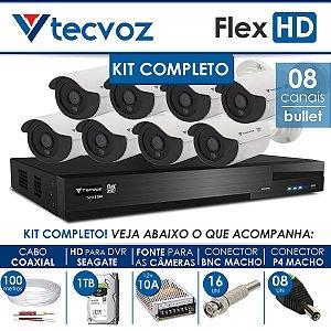 KIT TECVOZ COMPLETO FLEX HD - 8 CÂMERAS