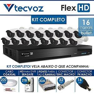 KIT TECVOZ COMPLETO FLEX HD - 16 CÂMERAS