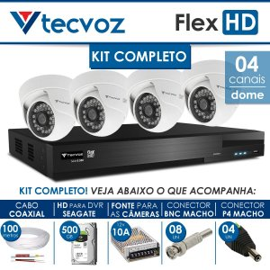 KIT TECVOZ COMPLETO FLEX HD - 4 CÂMERAS DOME