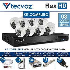 KIT TECVOZ COMPLETO FLEX HD - 8 CÂMERAS DOME