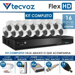 KIT TECVOZ COMPLETO FLEX HD - 16 CÂMERAS DOME