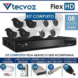 KIT TECVOZ COMPLETO MISTO FLEX HD - 4 CÂMERAS BULLET + 4 CÂMERAS DOME