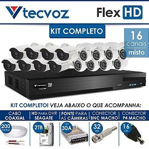 KIT TECVOZ COMPLETO MISTO FLEX HD - 8 CÂMERAS BULLET + 8 CÂMERAS DOME