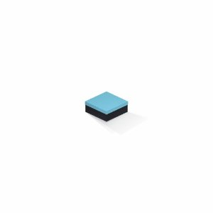 Caixa de presente | Quadrada F Card Azul-Preto 7,0x7,0x3,5