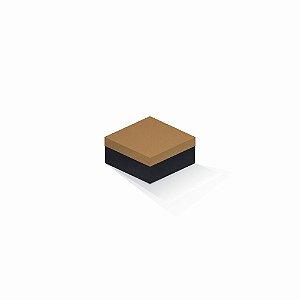Caixa de presente | Quadrada F Card Ocre-Preto 10,5x10,5x6,0