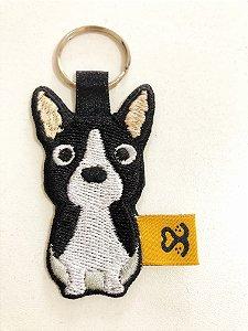 Chaveiro de bordado Boston Terrier