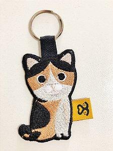 Chaveiro de bordado Gato Laranja