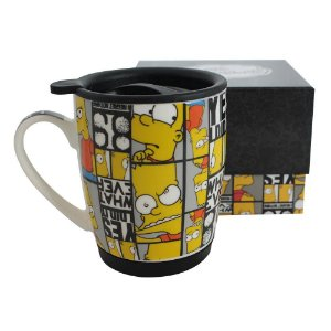 Caneca Bart Careta com Tampa e Base Silicone - Os Simpsons