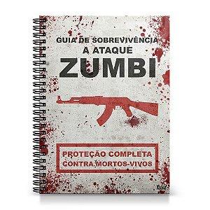 Caderno Capa Dura 1x1 - Guia de sobrevivência a ataque Zumbis