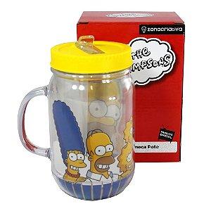 Caneca Pote com Canudo Retrátil - Os Simpsons
