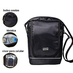 Bolsa Shoulder Preta Bag Termica Masculina e Feminina