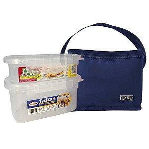 Bolsa Térmica Com 2 Potes Plásticos Com Trava
