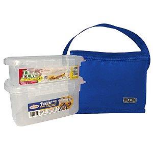 Bolsa Térmica Com 2 Potes Plásticos Com Trava Azul Royal