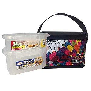 Bolsa Térmica Com 2 Potes Plásticos Com Trava Preto Floral