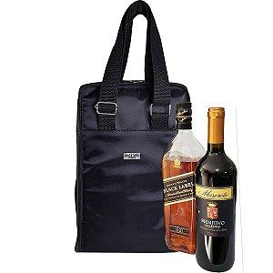 Bolsa Térmica Porta Vinho 2 Garrafas Alça de Mão e Tiracolo