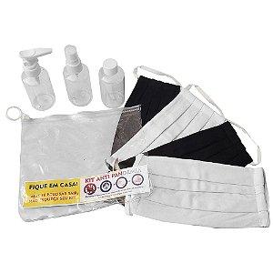 Kit 4 Mascaras Tecido Antivirus Unissex Reutilizável + Kit Higiene + Necessaire