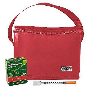 Bolsa Termica Pequena Para Medicamentos Insulina Vermelha