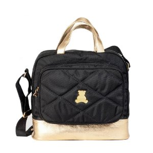 Bolsa Maternidade de transpassar média com compartimento térmico em nylon matelassado preto com couro dourado  . TAM :  33 Largura x 33 Altura X 15 Profundidade