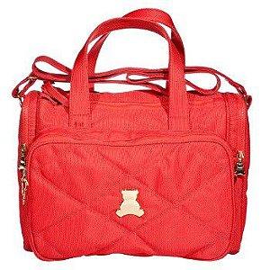 Bolsa Maternidade  de transpassar média  com bolsos laterais térmicos em nylon  matelassado vermelho. TAM :  32 Largura x 31 Altura X 13 Profundidade