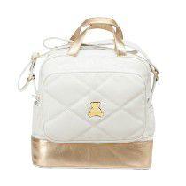 Bolsa Maternidade de transpassar média com compartimento térmico em sintético matelassado branco com couro legítimo dourado . TAM :  33 Largura x 33 Altura X 15 Profundidade