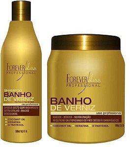 Kit Banho de Verniz Shampoo + Máscara 1kg Forever Liss