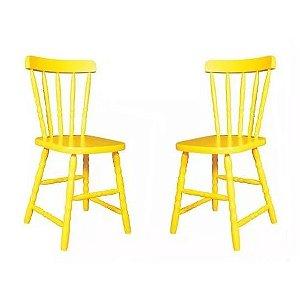 Cadeira Para Mesa Madeira Maciça Eucalipto Amarelo