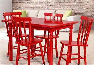 Cadeira Para Mesa Madeira Maciça Eucalipto Vermelho