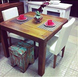 Mesa de Jantar Quadrada 1m x 1m Madeira Demolição Peroba Rosa