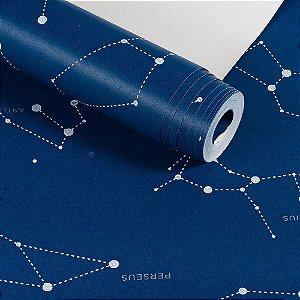 Papel De Parede Infantil Azul Constelações Lavável Importado Dekor