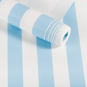 Papel De Parede Infantil Importado Dekor Lavável Faixas Azul