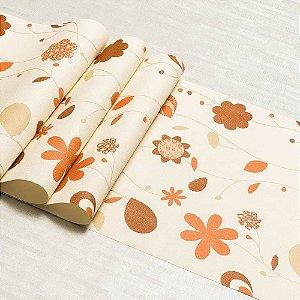 Papel De Parede Floral Emborrachado Dekor Vinílico Lavável Textura Em Relevo