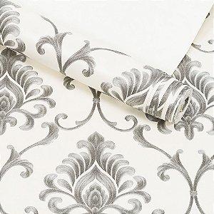 Papel de Parede Importado Vinílico Lavável Textura em Relevo Arabesco 8087